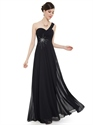 Black Chiffon One Shoulder Long Bridesmaid Dress With Beaded Detail