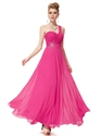 Hot Pink Chiffon One Shoulder Long Bridesmaid Dress With Beaded Detail