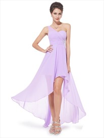 Lilac One Shoulder High Low Chiffon Bridesmaid Dress With Beaded Detail