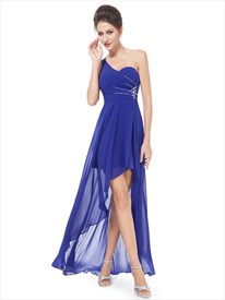 Royal Blue One Shoulder High Low Bridesmaid Dress With Beaded Detail