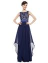 Elegant Navy Blue Chiffon Long Bridesmaid Dresses With Lace Bodice
