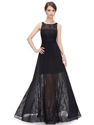 Black Lace Bodice Illusion Neckline Chiffon Prom Dress With Sheer Skirt