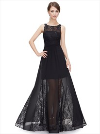 Black Lace Bodice Illusion Neckline Chiffon Prom Dress With Sheer Skirt