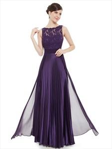 Elegant Purple Lace Illusion Neckline Chiffon Long Bridesmaid Dress