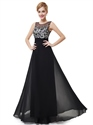 Black Chiffon Open Back Floor Length Prom Dress With Embroidered Flowers