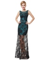 Black And Teal Beaded Neckline Lace Sheath Prom Dress With Sheer Overlay