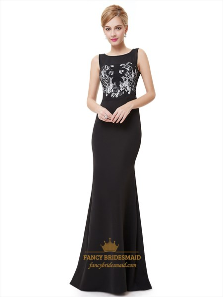Elegant Black Mermaid Floor Length Prom Dress With Embellished Bodice