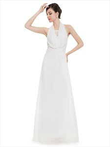 Ivory Halter Neck Chiffon Bridesmaid Dress With Lace Applique Detail