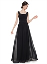 Elegant Black Chiffon Floor Length Bridesmaid Dress With Ruching