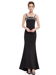 Elegant Black Mermaid Embellished Neckline Prom Dress With Straps