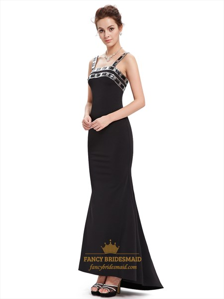 Elegant Black Mermaid Embellished Neckline Prom Dress With Straps