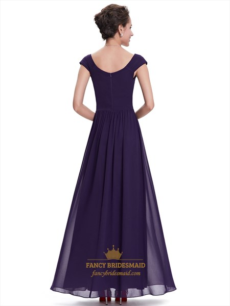 Purple Sweetheart Chiffon Cap Sleeves Bridesmaid Dresses With Sequins