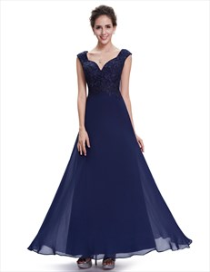 Navy Blue Cap Sleeves Chiffon Long Bridesmaid Dresses With Lace Bodice