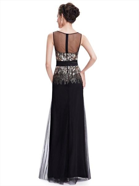 Black Sheath Illusion Neckline Formal Dress With Gold Sequin Bodice