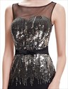 Black Sheath Illusion Neckline Formal Dress With Gold Sequin Bodice