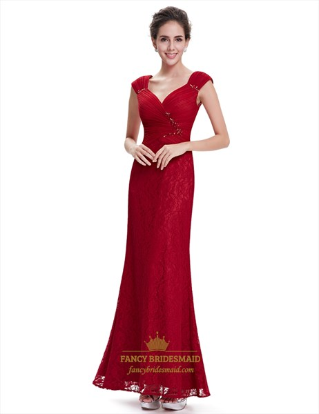 Red Lace Cap Sleeves Sheath Floor Length Prom Dress With Beaded Detail
