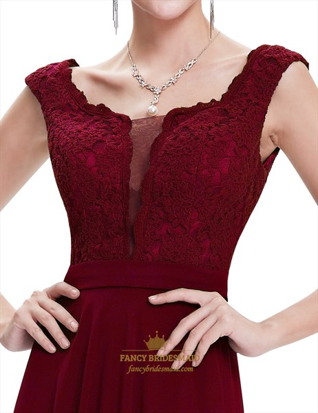 Burgundy Chiffon Cap Sleeves Long Bridesmaid Dresses With Lace Bodice
