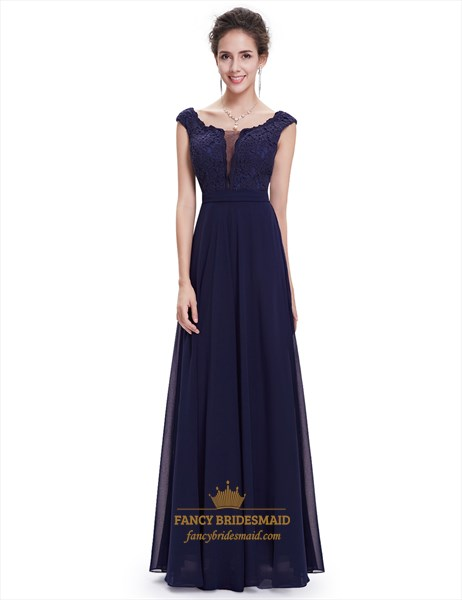 Navy Blue Chiffon Cap Sleeves Long Bridesmaid Dresses With Lace Bodice