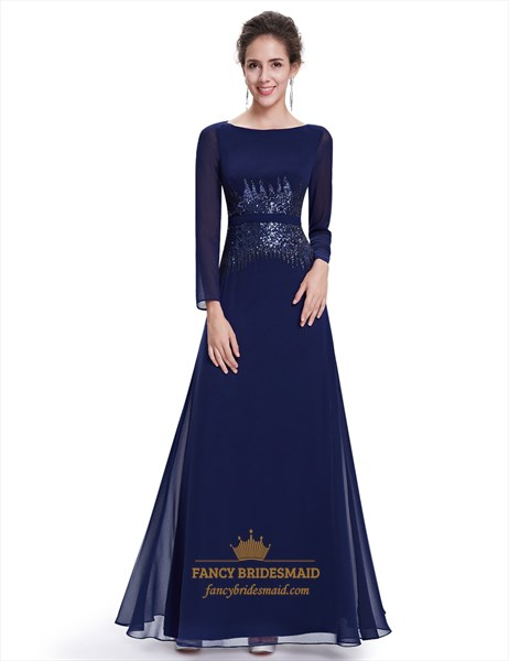 Navy Blue Chiffon Sequin Mother Of The Bride Dress With Long Sleeves