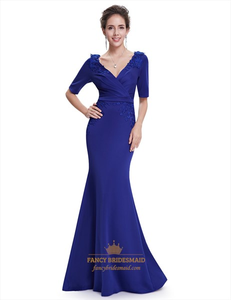 Royal Blue V Neck Mermaid Mother Of The Bride Dresses With Embroidery