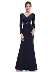 Navy Blue Mermaid Mother Of The Bride Dresses With Beaded Waistband