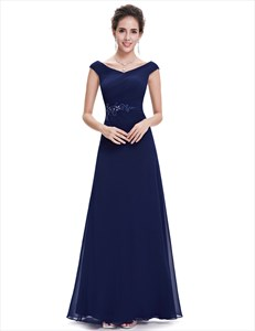 Navy Blue Chiffon Long Bridesmaid Dresses With Beaded Lace Applique