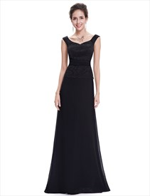 Black Chiffon Long Bridesmaid Dresses With Beaded Lace Applique