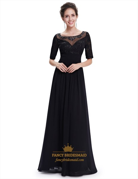 Black Beaded Neckline Lace Bodice Chiffon Prom Dress With Half Sleeves