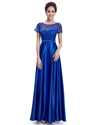 Royal Blue Short Sleeve Long Bridesmaid Dresses With Lace Bodice
