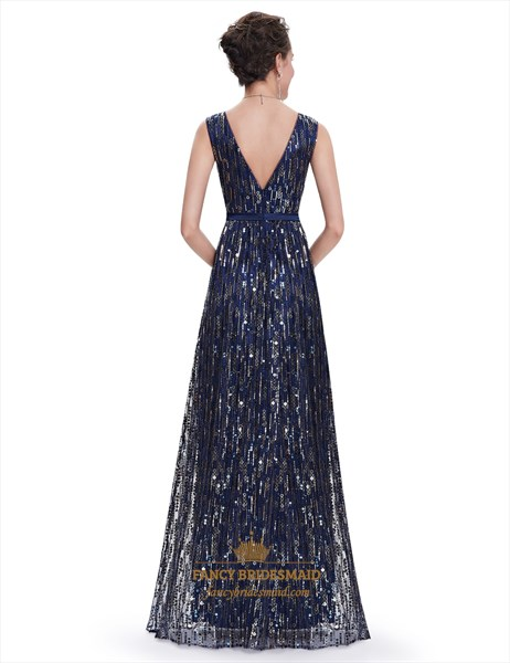 Elegant Navy Blue Floor Length Contrast V-Neck Sequin Prom Dress