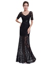 Black Lace V Neck Half Sleeve Mermaid Prom Dress With Sheer Skirt