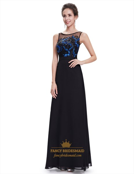 Black Illusion Neckline Chiffon Prom Dress With Embellished Bodice