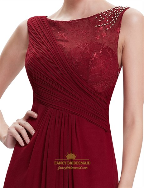 Burgundy Lace Top Chiffon Long Bridesmaid Dresses With Beaded Detail