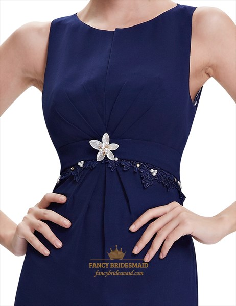 Navy Blue Mermaid Chiffon Prom Dresses With Lace Applique Detail