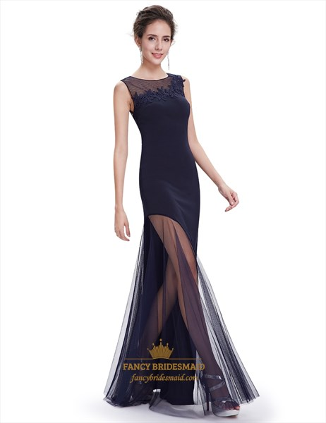 Navy Blue Embellished Neckline Mermaid Prom Dresses With Sheer Skirt