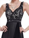 Black V Neck Lace Bodice Chiffon Bridesmaid Dress With Front Cascade