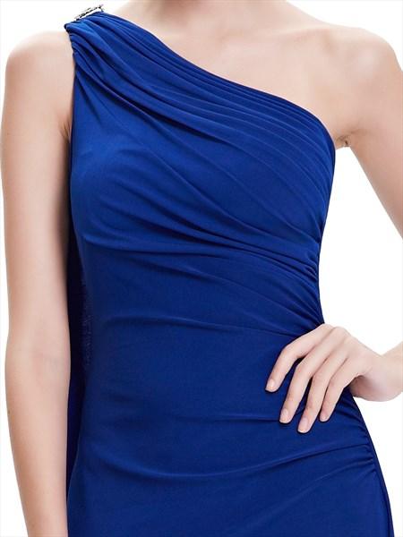Royal Blue One Shoulder Sheath Bridesmaid Dress With Ruffle Back