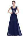 Navy Blue Chiffon Bridesmaid Dresses With Cap Sleeve And Open Back