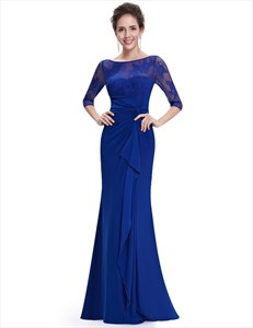 Royal Blue Mermaid Mother Of The Bride Dress With Long Sleeves