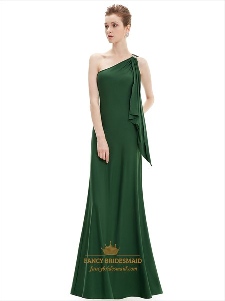 Emerald Green Sheath One Shoulder Bridesmaid Dresses With Ruffle Detail