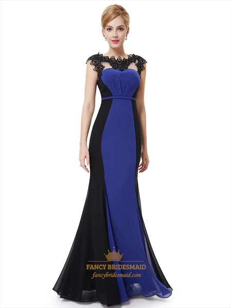 Royal Blue And Black Chiffon Mermaid Prom Dresses With Lace Applique