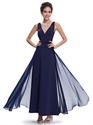 Flowy Navy Blue V Neck Chiffon Floor Length Bridesmaid Dresses