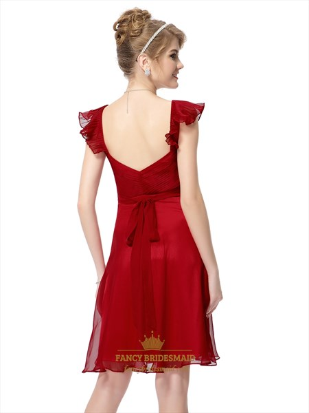 Red Chiffon Knee Length Bridesmaid Dresses With Flutter Sleeves