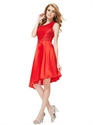 Red One Shoulder Short Asymmetrical Hem Bridesmaid Dresses With Lace Top