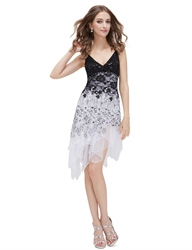 Black And White Asymmetric Spaghetti Strap V-Neck Lace Cocktail Dress