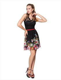 Black Floral Print Illusion Neckline Short Skater Dress With Lace Top