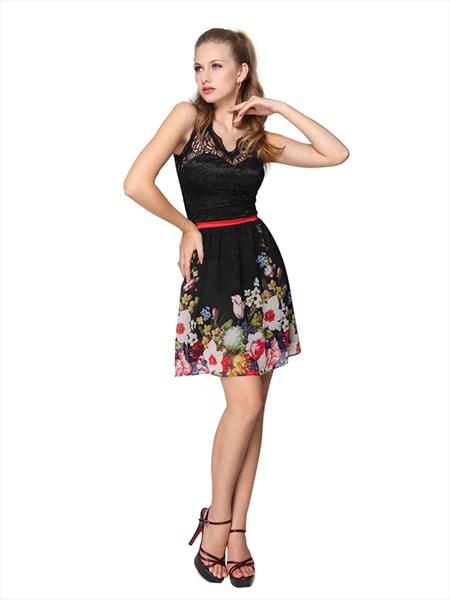 Black Floral Print Illusion Neckline Short Skater Dress With Lace Top