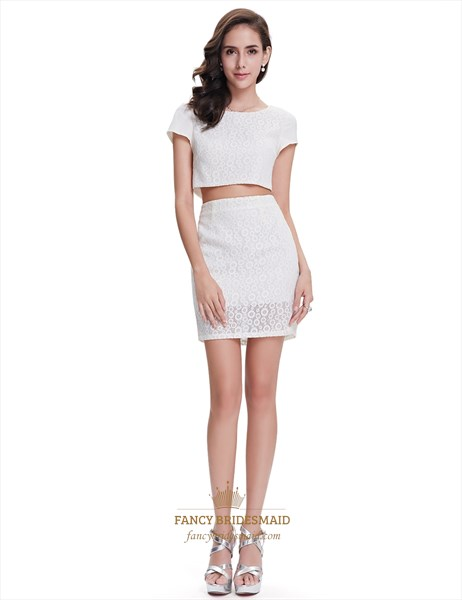 Cute White Lace Sheath Two Piece Cocktail Dress With Cap Sleeves