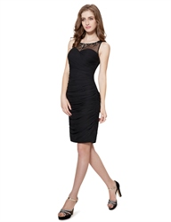 Black Embellished Ruched Sheath Beaded Neckline Short Cocktail Dress