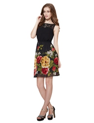 Black Floral Print Fit And Flare Skater Dress With Lace Top